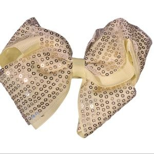 Yellow sequin hair bow